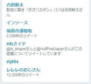 トレンド欄にも古田新太さんの名前と並び、「レレレのおじさん」が