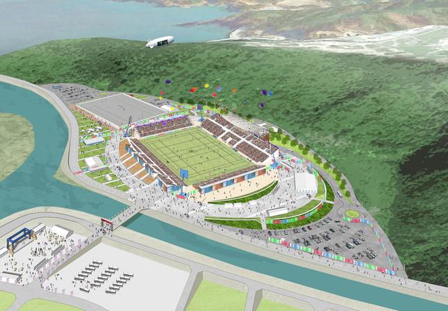 スタジアムの完成予想図(画像提供:釜石市ラグビーワールドカップ2019推進室)