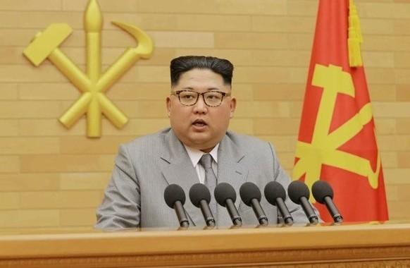 社説から「核」が消えた真意は?(写真は労働新聞から)