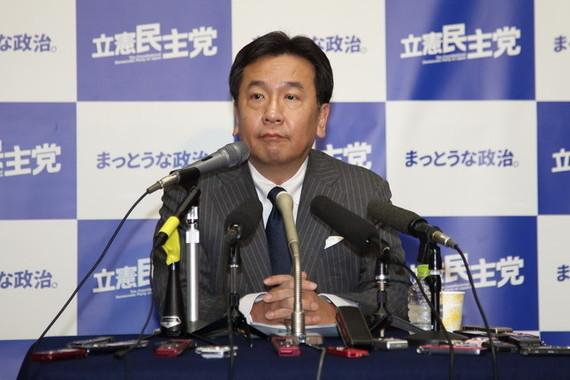 枝野代表はセクハラ関連の質問に歯切れの悪い答えを続けている(2018年1月撮影)