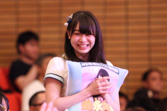 HKT48の豊永阿紀さん。2017年の選抜総選挙では79位にランクインした(2017年6月撮影)