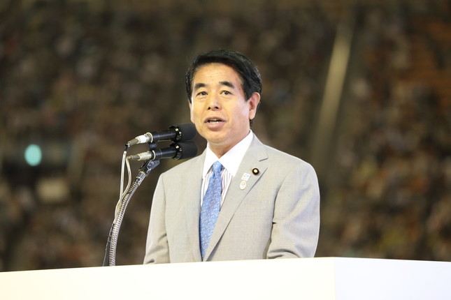 自民党の下村博文・元文科相。会合での発言が問題視されている(2014年撮影)
