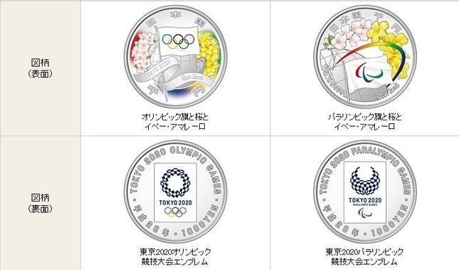 本物の東京2020オリンピック競技大会記念千円銀貨(画像は財務省公式サイトより)