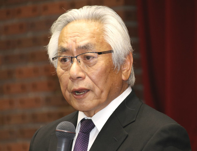日本大学の大塚吉兵衛学長(写真は2018年5月25日撮影)