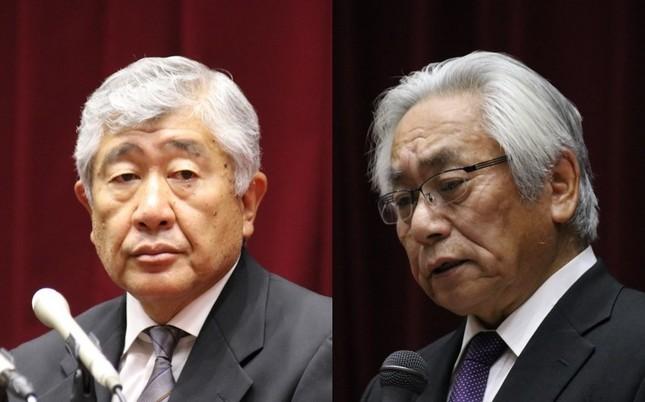 別々に会見を開いた内田前監督(左、2018年5月23日)と、大塚学長(5月25日)