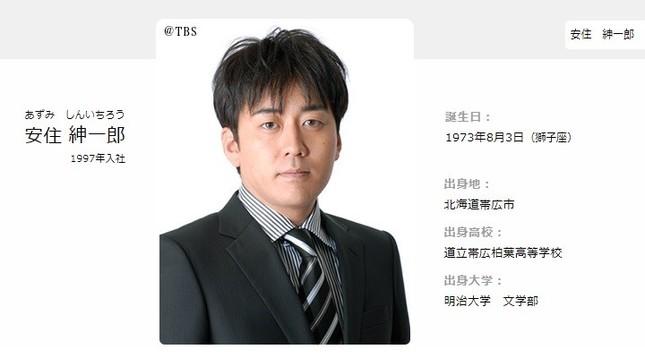 安住紳一郎さん(画像はTBS公式サイトより)