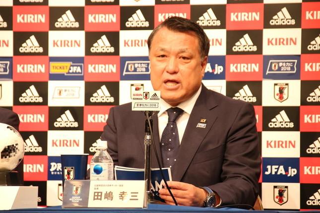 メンバー発表会見の冒頭であいさつした田嶋幸三・日本サッカー協会会長