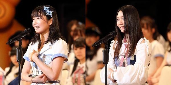 17年の選抜総選挙で8位の惣田紗莉渚さん(左)と14位の古畑奈和さん(右)(2017年6月撮影)
