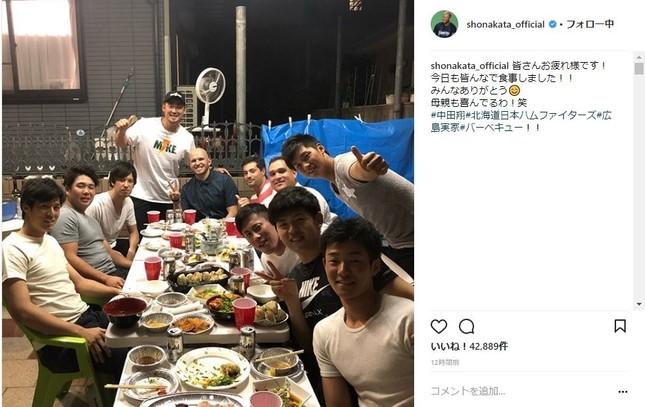6月4日に投稿された中田翔選手のインスタグラムより(一部加工)