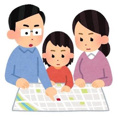 「避難所を確認する家族のイラスト」