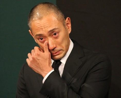 死去翌日の会見で涙した海老蔵さん(2017年6月23日撮影)