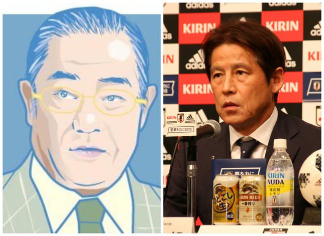 (左)張本氏、西野監督