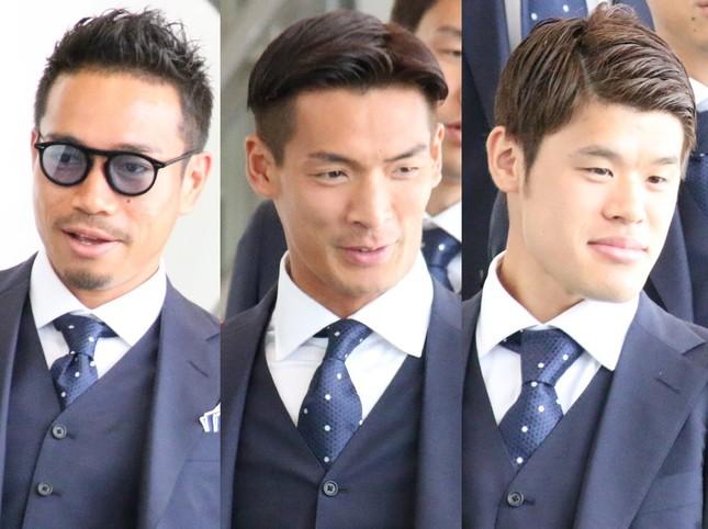 ロシアW杯日本代表の(左から)長友佑都、槙野智章、酒井宏樹