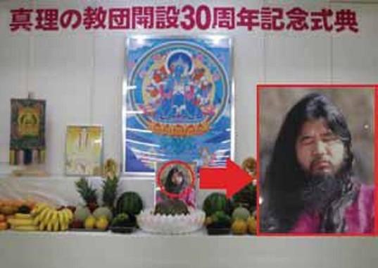 公安調査庁の立ち入り検査では教団施設に祭壇に松本死刑囚の写真が確認されていた(写真は公安調査庁「内外情勢の回顧と展望」から)