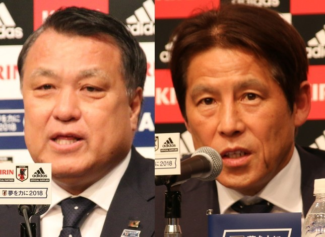 田嶋幸三・日本サッカー協会会長と、西野朗・日本代表監督(2018年5月31日撮影)