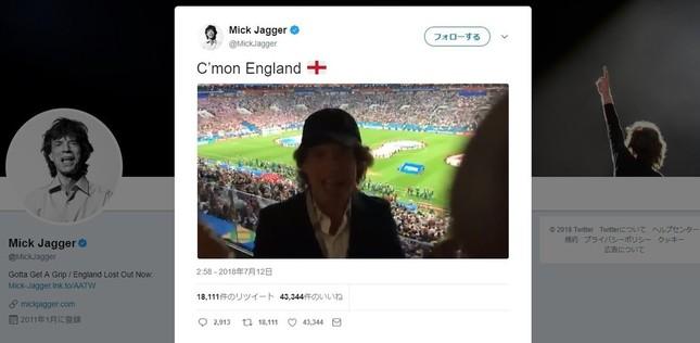 ミック・ジャガーさんのツイッターより