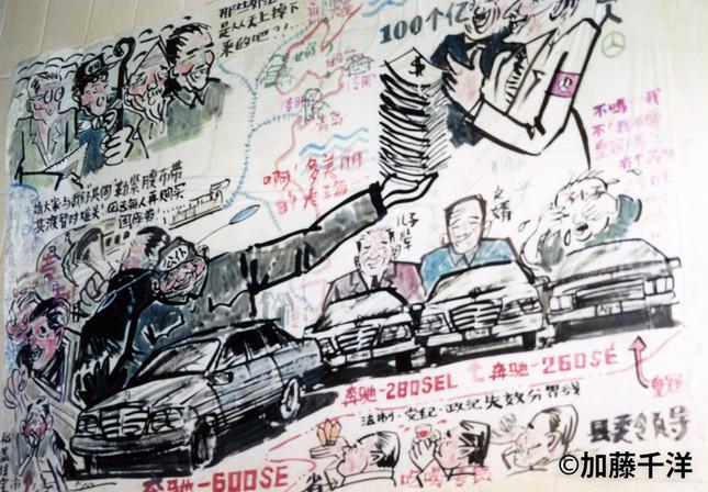 地下通路の壁に張り出された風刺漫画