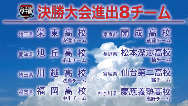 決勝大会出場の8校(画像は一般社団法人日本クイズ協会提供)