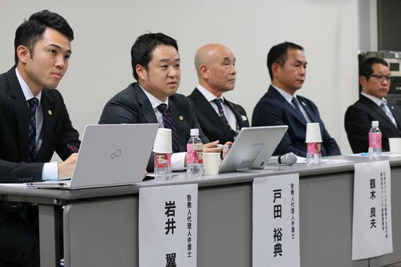 山根氏の辞任表明後に会見を開いた、告発した側の「日本ボクシングを再興する会」メンバーら(2018年8月8日撮影)