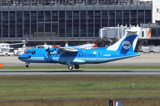 天草エアラインのATR42-600型機。この1機で1日に10区間運航している