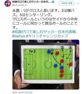 「知識ゼロで楽しむサッカー日本代表戦」のツイッターで示された永島昭浩氏の解説
