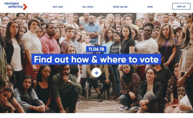 若者に投票を呼び掛けるネクトジェン・アメリカのトップページ
