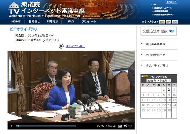 11月1日、衆院予算委員会で野田聖子・委員長が議事を進めた(画像は衆議院インターネット審議中継サイトより)