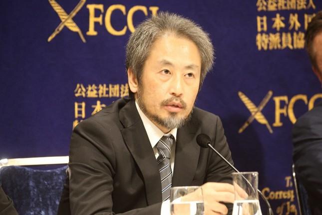 日本外国特派員協会で会見したフリージャーナリストの安田純平さん