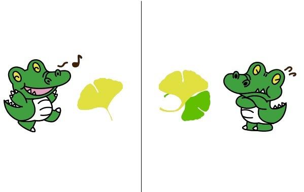 「ワニ博士」。公式サイトでは左のイラストに「イチョウがお好き。※別に食べる訳ではない」、右のイラストに「ですが、2枚になるとなぜか落ち着きをなくされます」という説明がある(画像提供:大阪大学企画部広報課)
