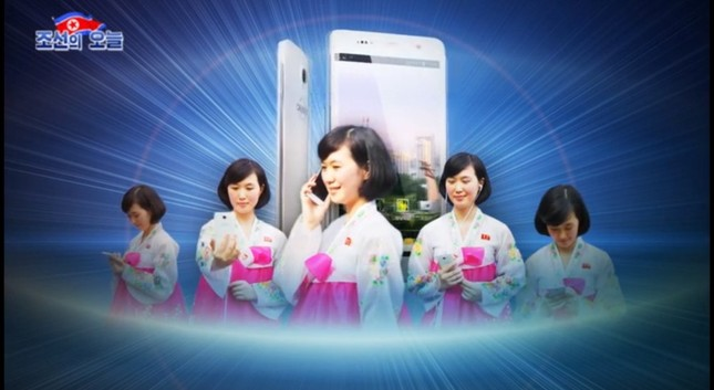 北朝鮮でもスマホの普及が進んでいる(写真は北朝鮮の宣伝サイト「朝鮮の今日」から)