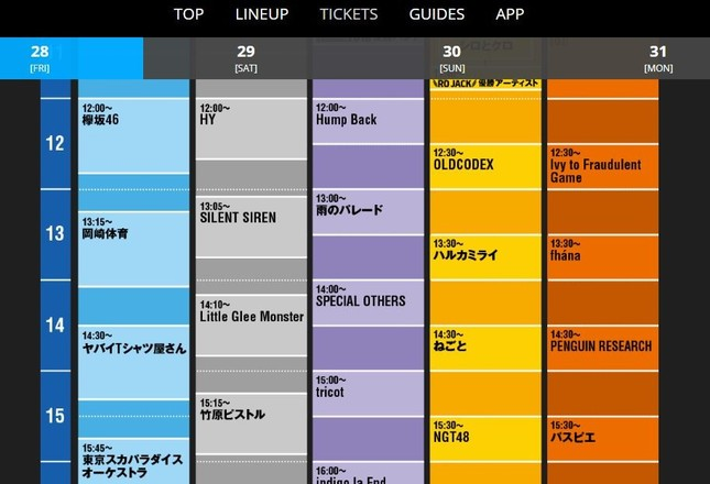 「COUNTDOWN JAPAN」のタイムテーブル(公式サイトより)