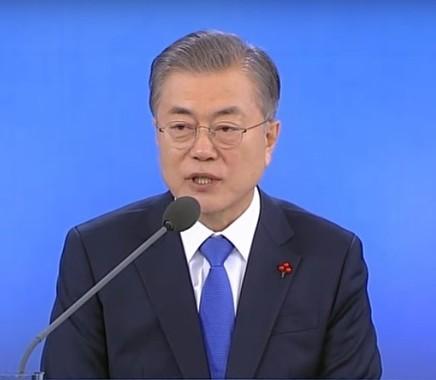 文大統領は2019年の年頭会見で日本批判を展開した(画像は韓国大統領府の動画から)