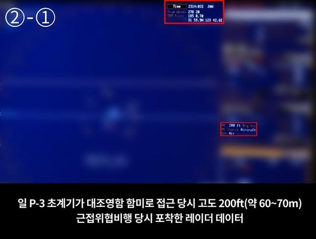 韓国国防省が「近接脅威当時補足したレーダーデータ」として示した写真。「200 ft」という表示をめぐり波紋が広がっている。