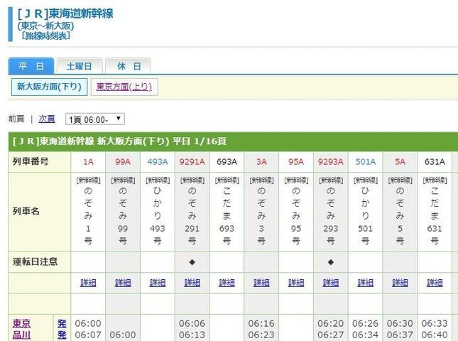 紙の時刻表とほぼ同じフォーマットが特徴(公式サイトより)