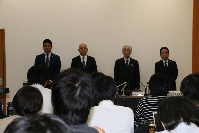 池江璃花子選手の病気をめぐり会見が開かれた(2019年2月12日撮影)