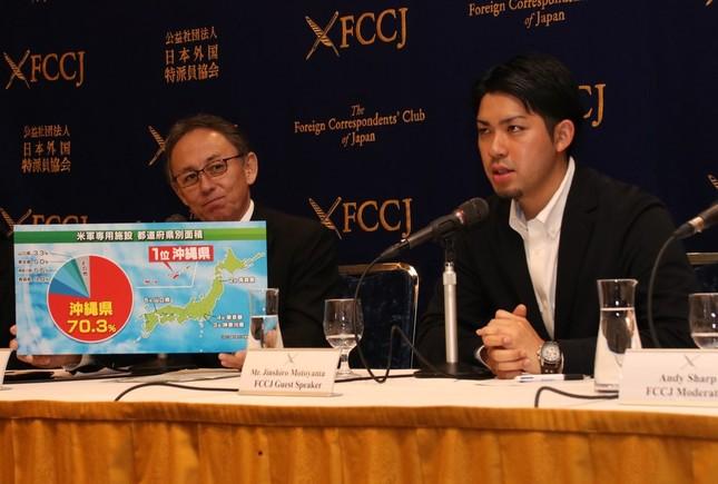 会見を開いた玉城デニー沖縄県知事(左)と元山仁士郎代表