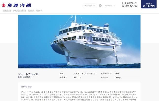 佐渡汽船が運航している高速船(写真は、「すいせい」)