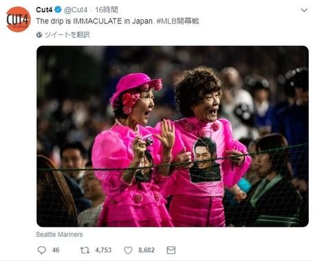 MLB開幕戦を観戦する林家ペー&パー子夫妻(画像は「Cut4」公式ツイッターアカウントより)