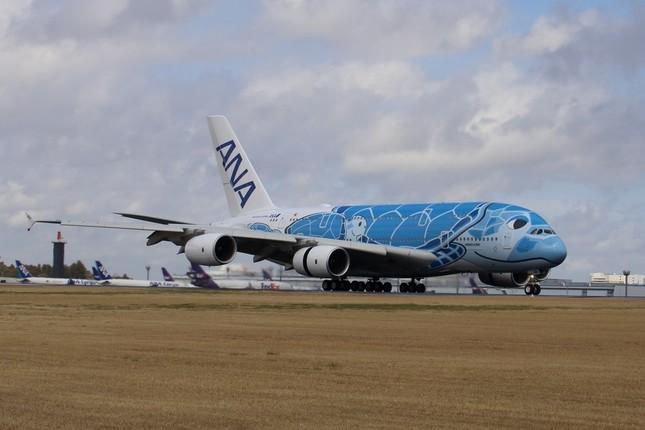 成田空港に着陸した全日空(ANA)のA380型機。日本の航空会社にA380が納入されるのは初めてだ