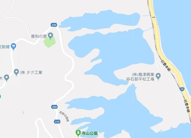 ネット上で指摘されている地図部分(グーグルマップより)