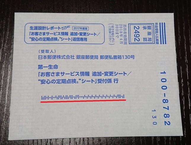 赤線の部分がカスタマバーコード(写真は、仲村かめお@nakamura_cameoさん提供)