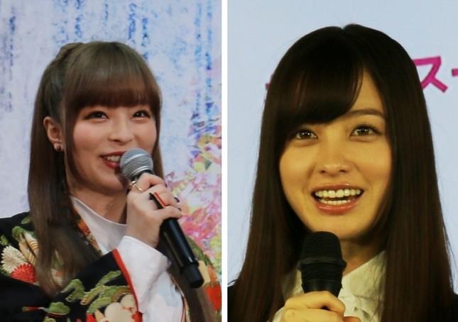 左からきゃりーぱみゅぱみゅさん(19年3月撮影)、橋本環奈さん(19年1月撮影)