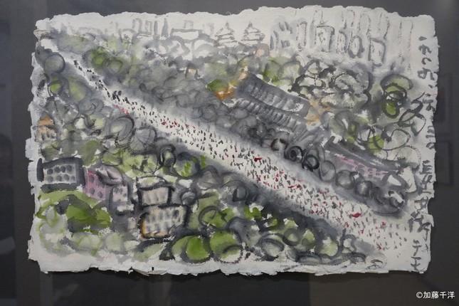 長安街の大規模デモを描いた水上の記録画の一枚。群衆は「蟻」のような黒い点で描かれる