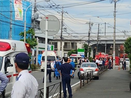 事件現場の登戸駅付近の5月28日の様子(ツイッターユーザーの足柄山の金太郎(@vell3215)さん提供)