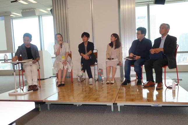 JIMAシンポジウム登壇者。左から武政秀明さん、蜷川聡子さん、古田大輔さん、安成蓉子さん、米重克洋さん、熊田安伸さん。