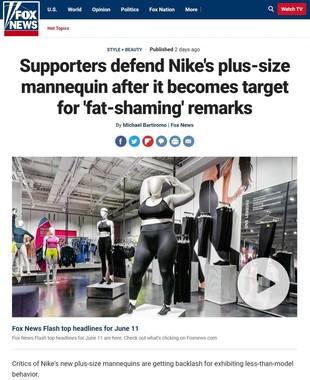 米FOXニュース6月11日付の記事より。中央に「ぽっちゃり」サイズのマネキンがある