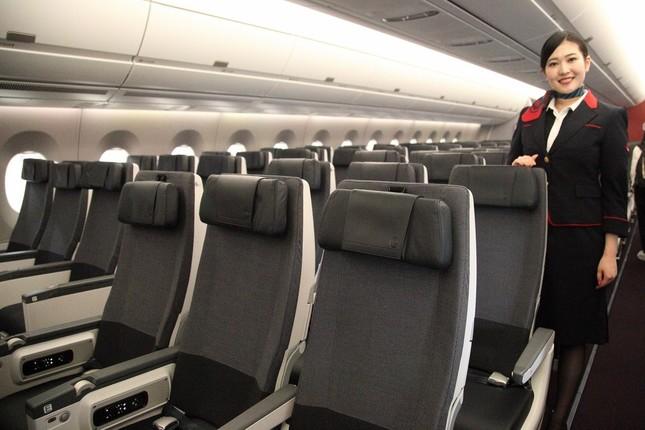 エアバスA350型機には新シートが導入された。写真は普通席