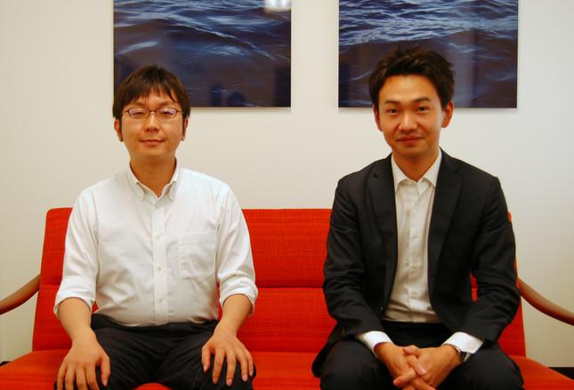 「LGBT法連合会」の神谷悠一事務局長(左)、下平武事務局長代理(右)