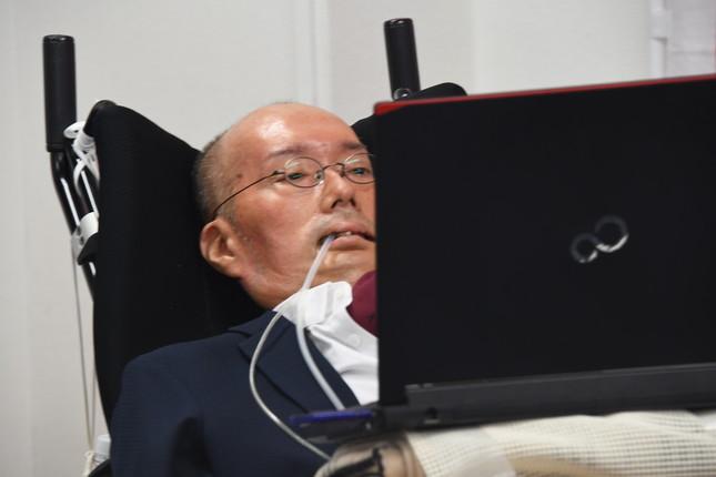れいわ候補者発表会見時の舩後靖彦氏(2019年7月3日撮影)