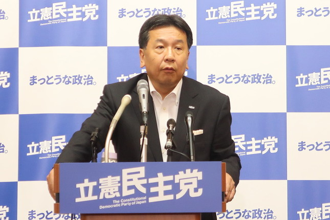 立憲民主党の枝野幸男代表。「改憲勢力」について「定義が難しいところがある」などと述べた